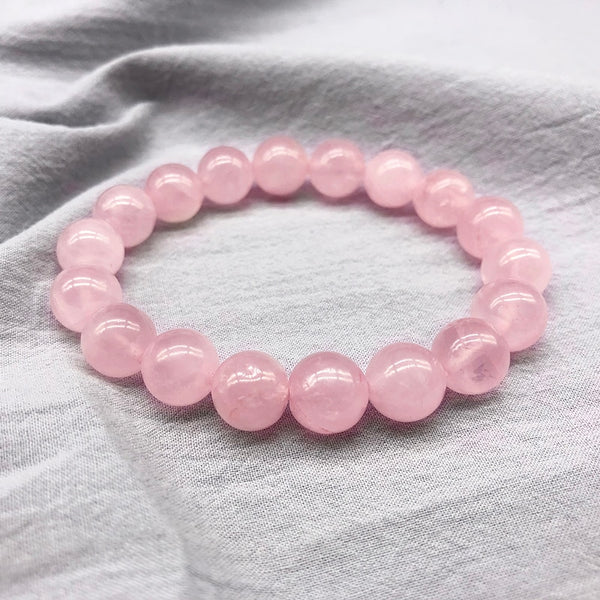 Wholesale Pink Rose Powder crystal Quartz Natural Stone Streche Bracelet Elastic Cord Pulserase Jewelry Beads Lovers woman Gift