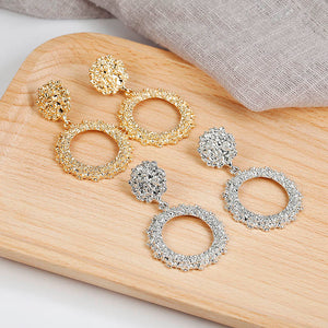 2019 New Popular Vintage Earrings For Women Golden Silver Color Round Hoop Earrings