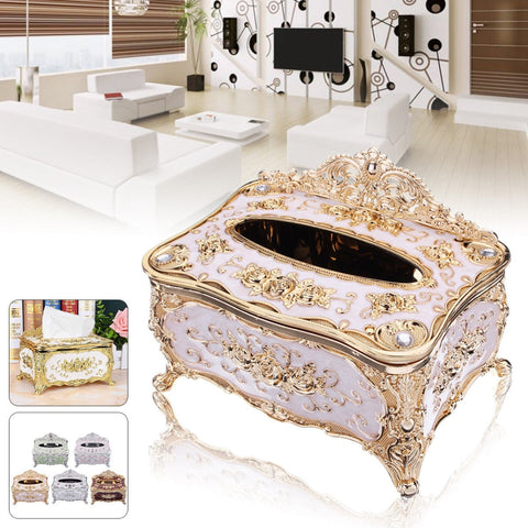 Hotomoto: Elegant Gold Tissue Box Cover Chic Napkin Case Holder Hotel Home Decor Organizer