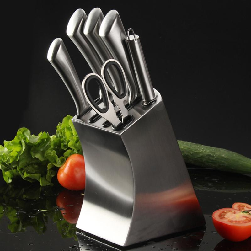Stainless Steel Knife Holder Creative Knife Block Kitchen Knives Storage Rack Inserted Knife Organizer