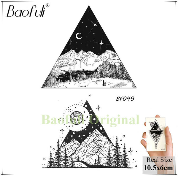 Waterproof Temporary Sticker Geometric Planet Jellyfish Tattoo Black Triangle Tattoos Body Arm Men Fake Tatoos Chains