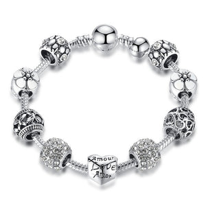 Hotomoto: Silver Charm Bracelet for Women Jewelry Original Beads Fashion Bracelets Gift