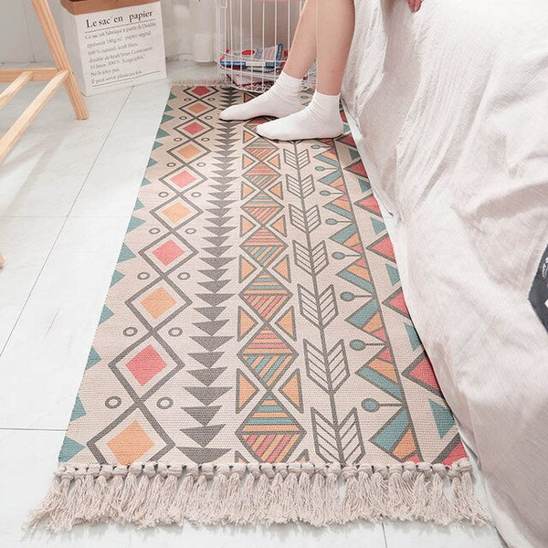 Bedside Carpet Rectangle Mat Nordic Couch Cotton Linen Woven Floor Mats Rug Green Household Bedroom Room Strip Tassel Anti-slip