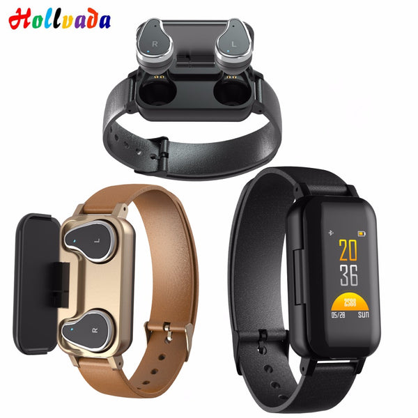 TWS 5.0 Bluetooth headphone Smart band Bracelet heart rate monitor Sports Smart Watch life waterproof Fitness Tracker Wristband