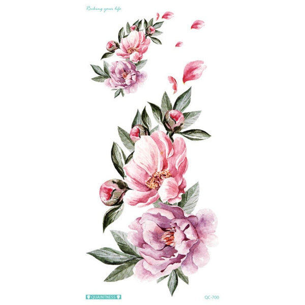 Colorful Flowers Temporary Tattoo Sticker Women Body Art