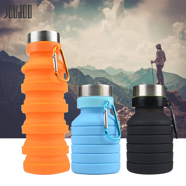 Retractable Folding Water Bottle Portable Silicone Coffee Bottle Outdoor Travel Drinking Sport Drink Kettle 40