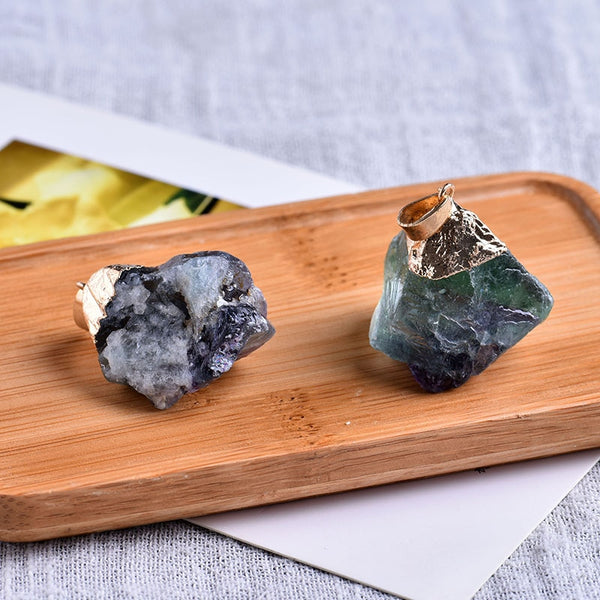 Natural colorful fluorite pendant crystal mineral jewelry chakra healing necklace fashion simple DIY fashion gift pendant