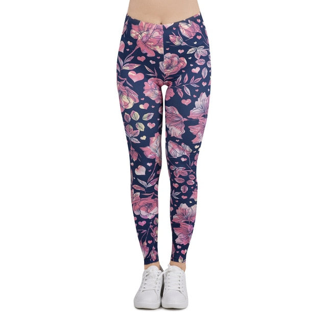 Women Legging floral love Printing Leggins Slim High Elasticity Legins Popular Fitness Leggings Female Pants