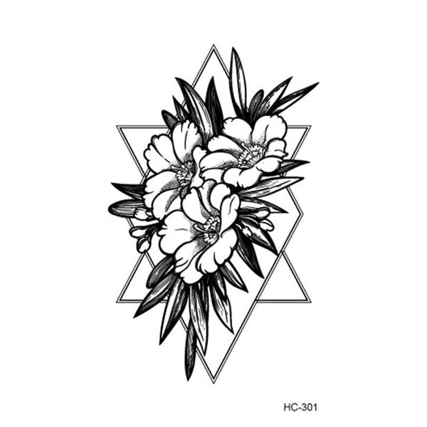 Hot Popular Ballet Black White Flowers Tattoos Sticker Temporary Drawing Body Art Fake Water Transfer