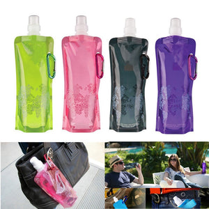 Foldable Water Bottle Bags 480ML Environmental Protection Collapsible Portable Outdoor Sports Water Bottles for Hiking Camping