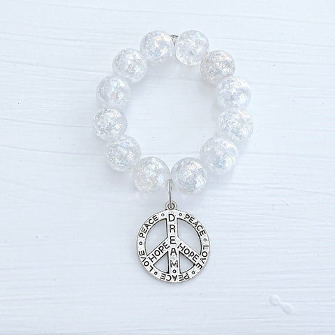 Cracked Glass 'Peace Sign' Cat, Mom, or Grandma 16mm Bracelet KissMeStyle