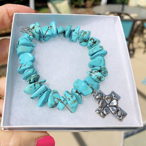 Genuine Turquoise Stretchable Nugget Bracelet with Sea Turtle Charm KissMeStyle