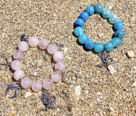 Image of 14mm Pink Rose Quartz 'Sea Life' Gemstone Bracelet KissMeStyle