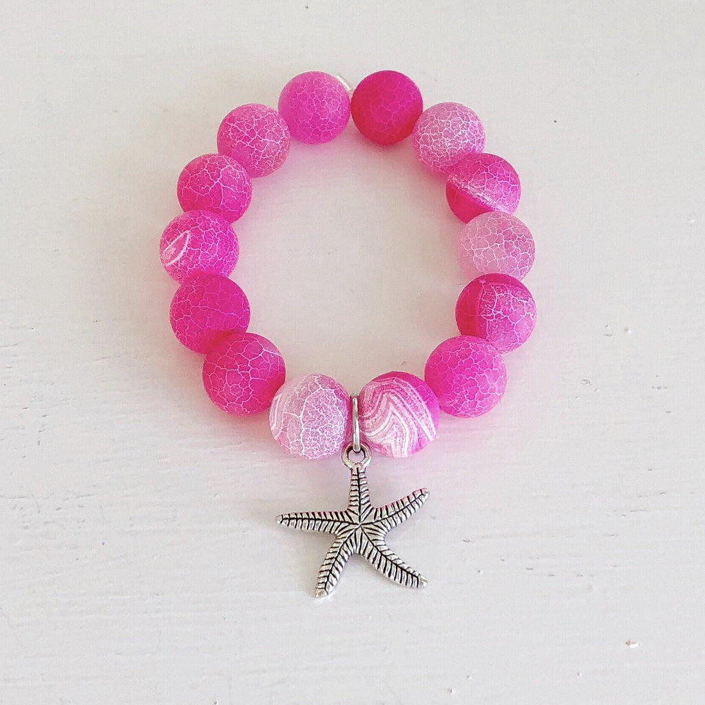 Frosted 14mm Pink Agate with Starfish Tibet Silver Charm. KissMeStyle