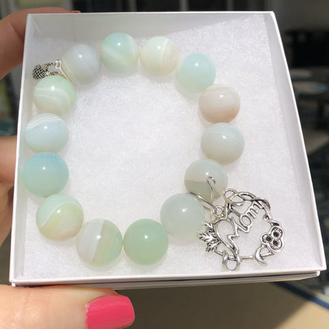 Image of Genuine Turquoise Nugget Stretchable Bracelet with Sea Turtle Charm KissMeStyle