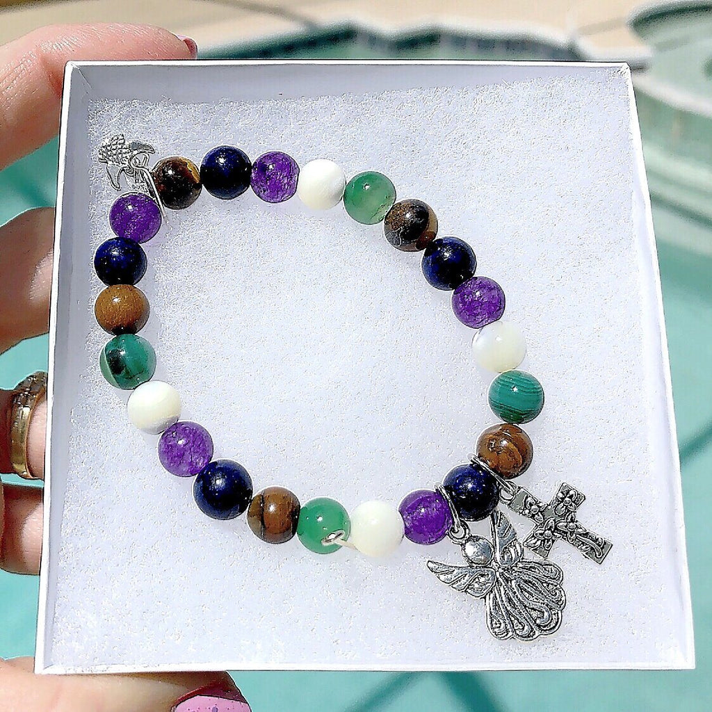 Multi-Gemstone Bracelet & Angel, Cross, or Mom Charm KissMeStyle Angel & Cross