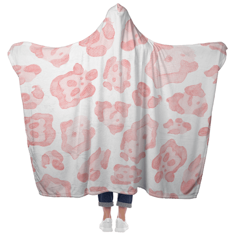 Abstract Sea Turtle Pink Leopard Hooded Blanket with Mittens