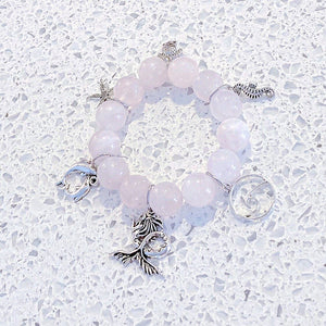 14mm Pink Rose Quartz 'Sea Life' Gemstone Bracelet KissMeStyle