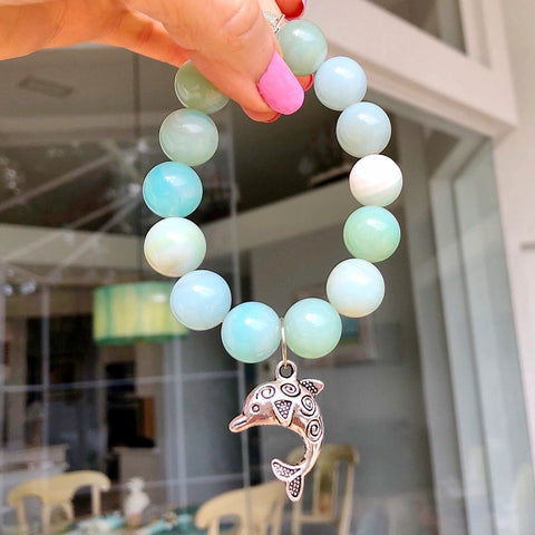 Genuine Turquoise Nugget Stretchable Bracelet with Sea Turtle Charm KissMeStyle