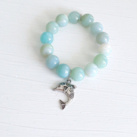 14mm Striped Blue Agate Gemstone with 'Mom' Charm KissMeStyle