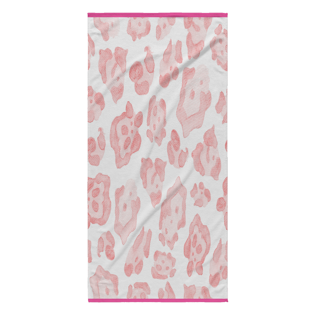 Abstract Sea Turtle Pink Leopard Beach Blanket Pink Edge Beach Towel teelaunch Pink Background