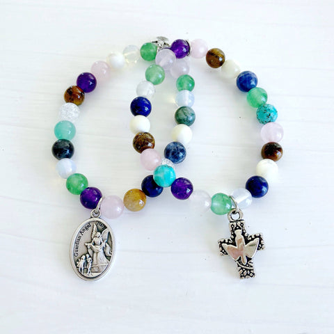 Multi-Gemstone Bracelet & Angel, Cross, or Mom Charm KissMeStyle Guardian Angel Medal