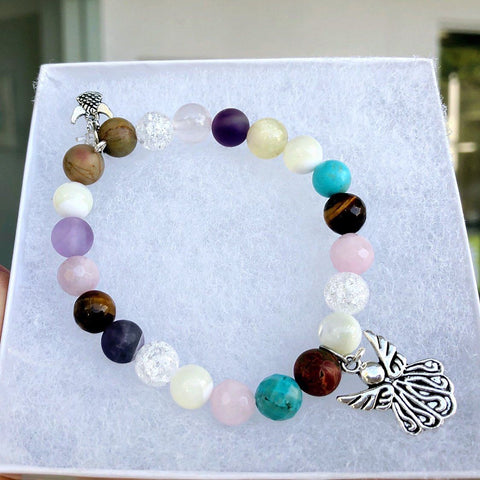 Image of Multi-Gemstone Bracelet & Angel, Cross, or Mom Charm KissMeStyle Angel