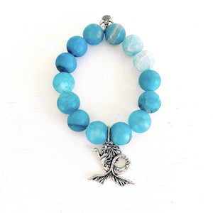 Frosted 14mm Blue Agate with Mermaid Tibet Silver Charm. KissMeStyle