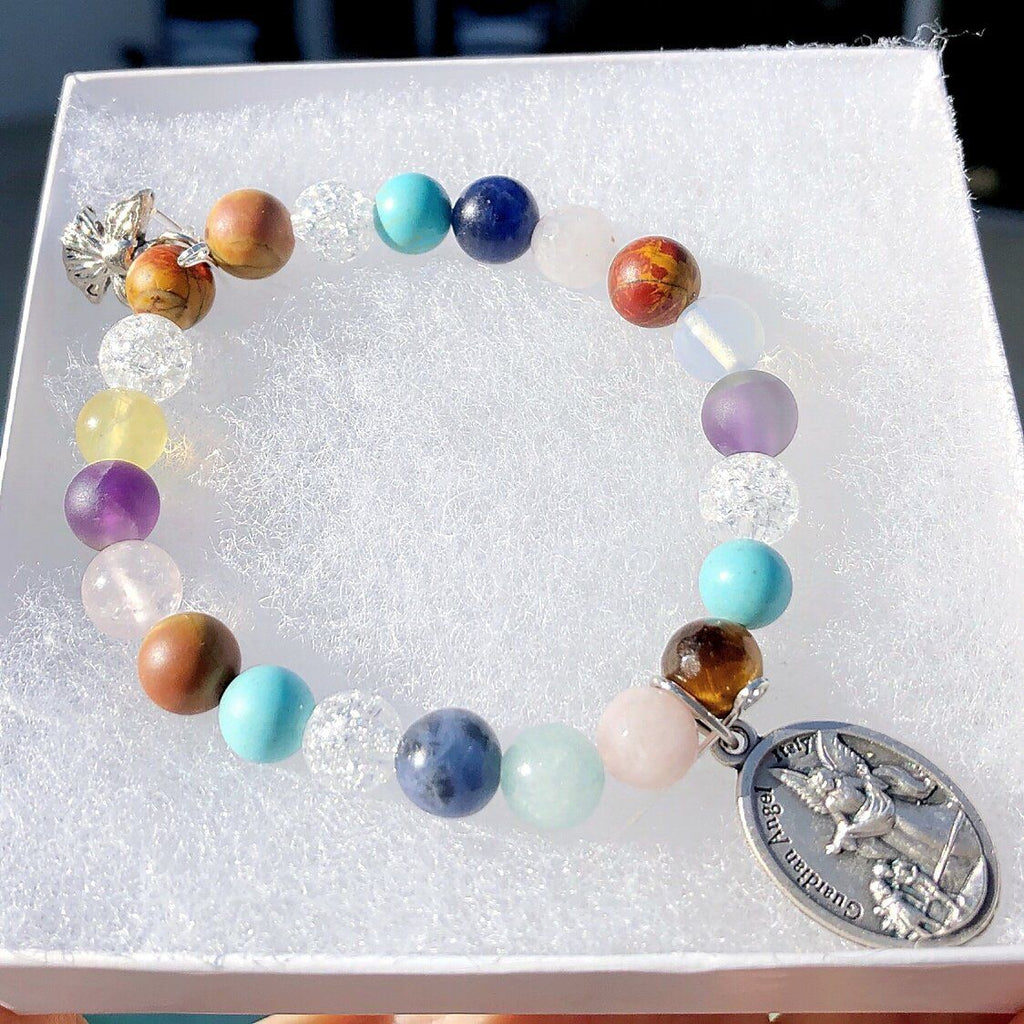 Multi-Gemstone Bracelet & Angel, Cross, or Mom Charm KissMeStyle
