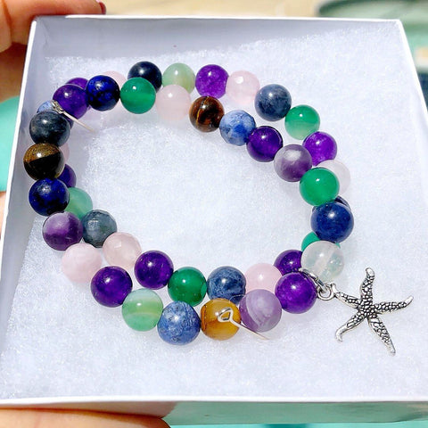 Image of Multi-Gemstone Bracelet & Angel, Cross, or Mom Charm KissMeStyle Starfish