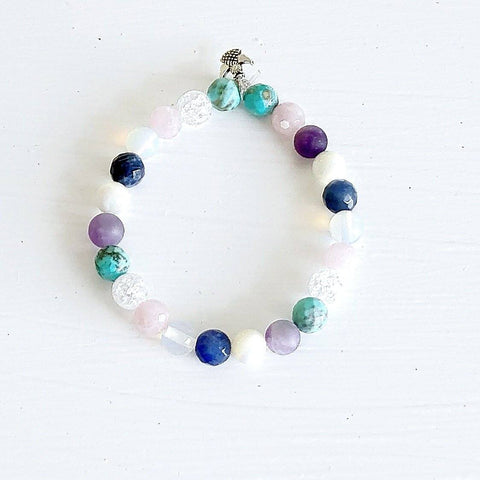Multi-Gemstone Bracelet & Angel, Cross, or Mom Charm KissMeStyle No Charm