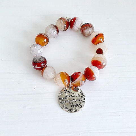 Genuine Red Druzy Agate Gemstone Bracelet Mantra Charm KissMeStyle