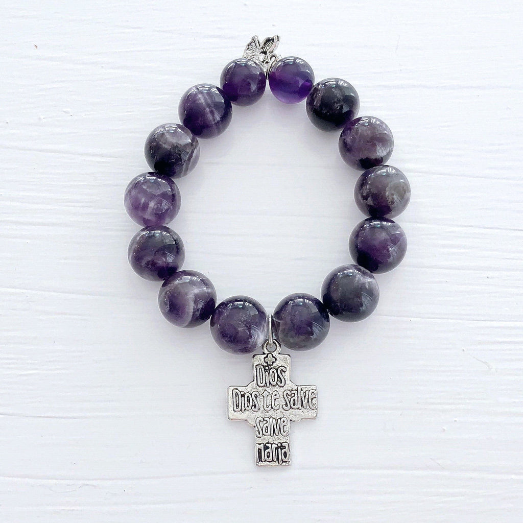 Genuine Amethyst 14mm Gemstone Bracelet KissMeStyle