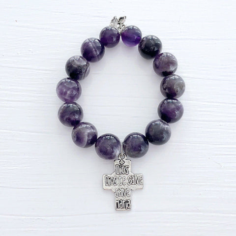 Image of Genuine Amethyst 14mm Gemstone Bracelet KissMeStyle