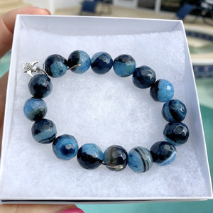 Genuine Faceted Black/Blue Agate 12mm Gemstone Bracelet KissMeStyle