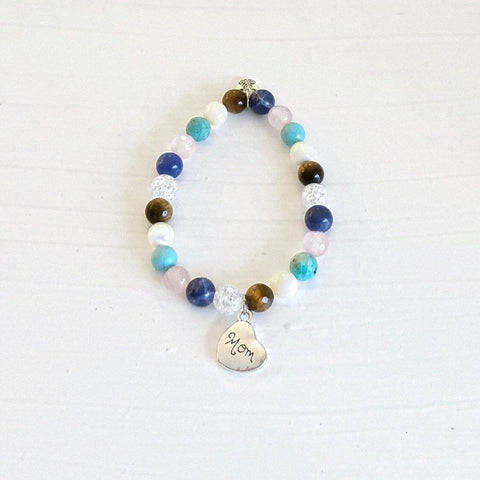 Multi-Gemstone Bracelet & Angel, Cross, or Mom Charm KissMeStyle Small Mom