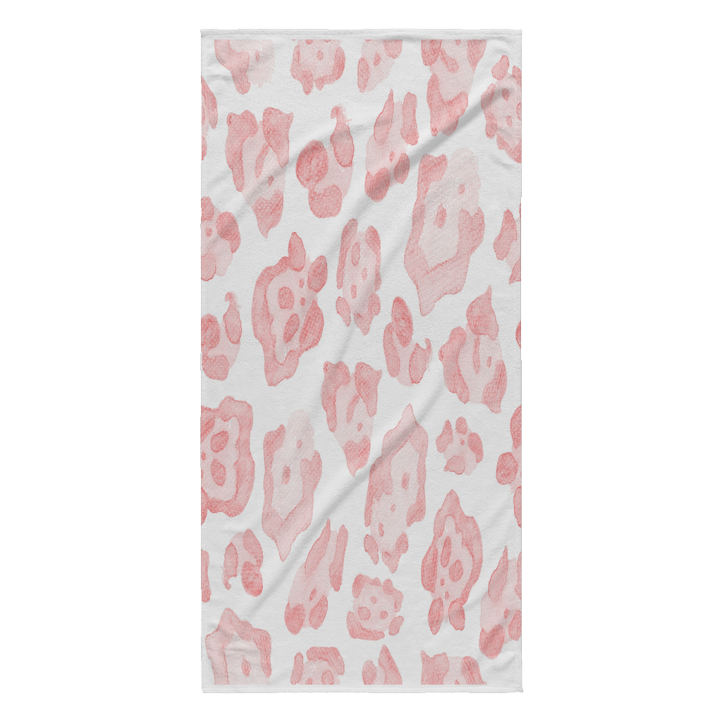 Abstract Sea Turtle Pink Leopard Beach Towel White Edge