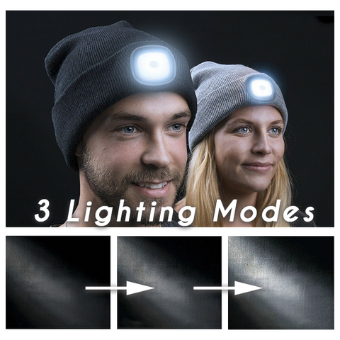 HEADLIGHT RECHARGEABLE LED KNIT BEANIE WITH LIGHT superproductonline