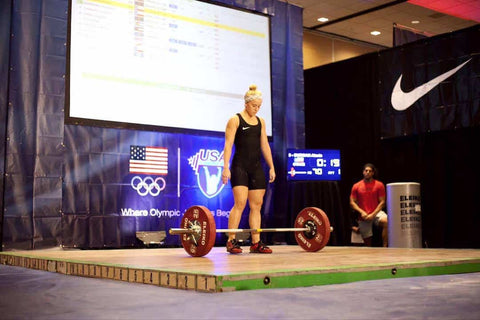 Alexis Burgan lifting at the USA National Weightlifting Championship 2015