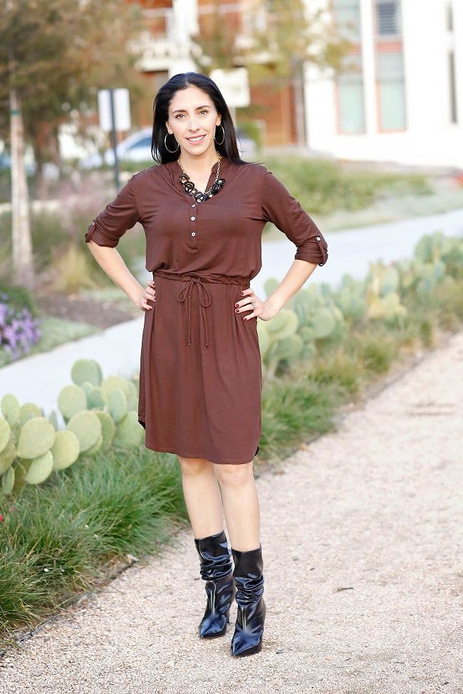 Brown henley dress