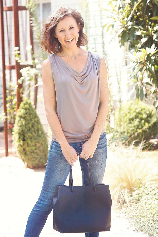 Super soft, versatile, and flattering sleeveless drape neck top for women