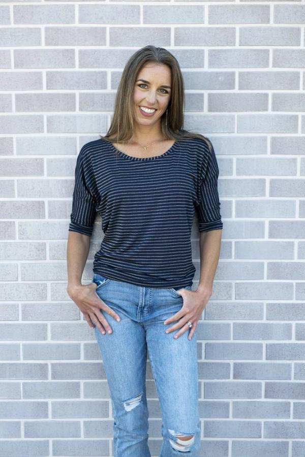 Navy and gold stripe top with 3/4 sleeves and scoop neck.  Designed to fit and flatter!