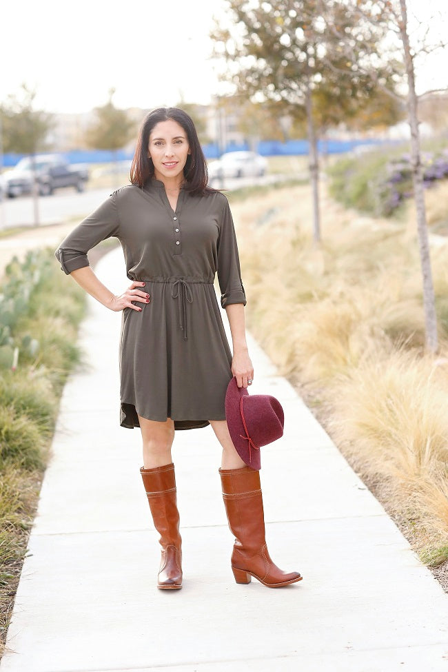 Olive henley dress