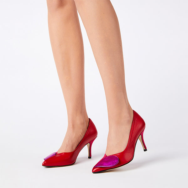 HEART IN TWO fuchsia suede-red