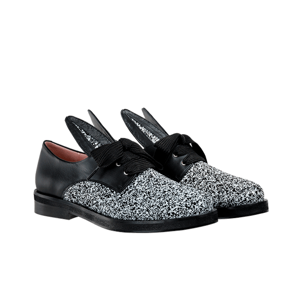 BUNNY LACE UP black & white glitter