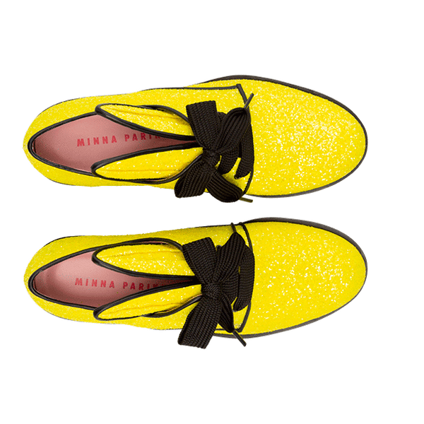 BUNNY LACE UP neon yellow glitter