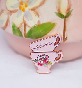Teacup Enamel Pin - Minki Kim Collab