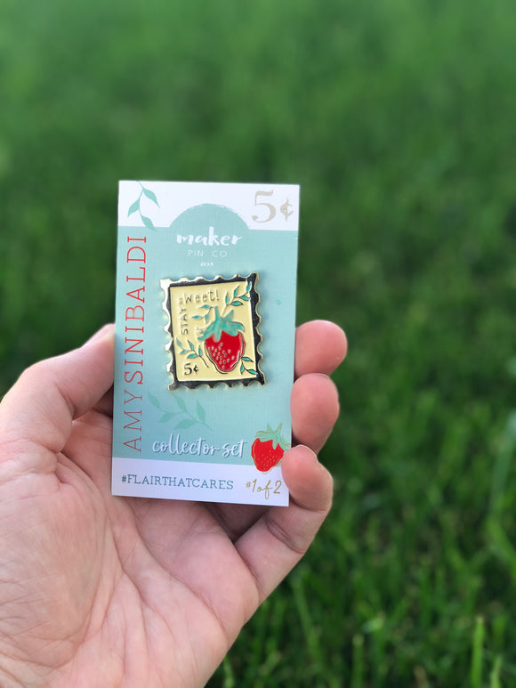 Strawberry Postage Stamp Pin - Collab with Amy Sinibaldi