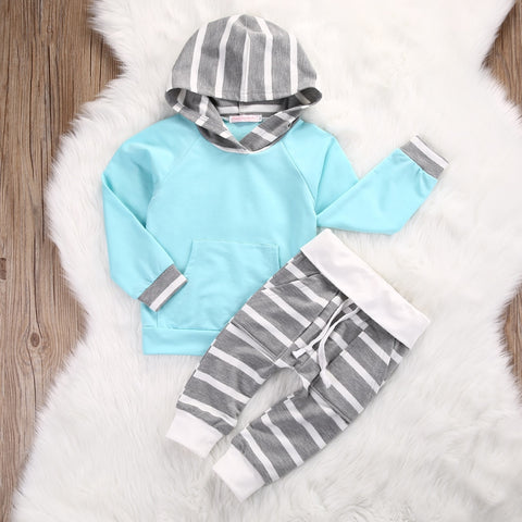* Hoodie Set- Blue/Pink Stripes