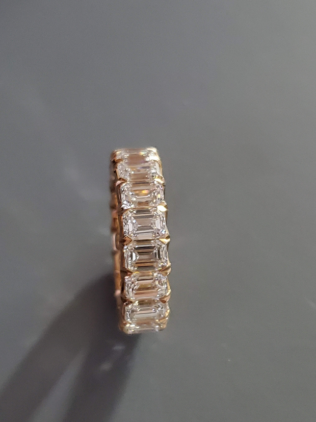 5.93ct Emerald Cut Eternity Band in Rose Gold